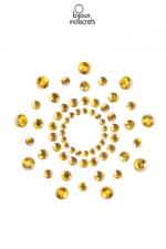 Bijoux de seins Mimi dorés : Bijoux de corps en strass dorés à poser en corole autour du mamelon pour un effet sexy garanti.