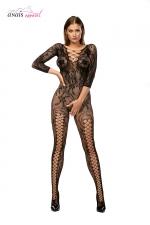Combinaison résille Mirabella Noir - Anaïs : Combinaison en résille fantaisie à manches longues, avec une ouverture intime très sexy.