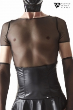 T-shirt en résille noire - Regnes : T-shirt fabriqué en résille élastique noire. Idéal pour porter avec les accessoires de la collection Cross Dresser.