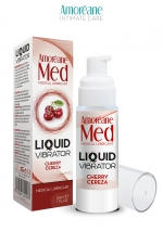 Lubrifiant Liquid Vibrator Cerise 30ml - Amoreane Med : Gel lubrifiant médical à base d'eau avec effet vibrant, parfumé à la cerise, par Amoréane Med.
