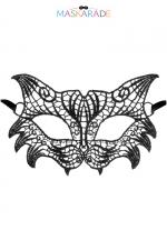 Loup broderie souple Nuit : Loup noir en dentelle brodée souple, de style rétro, pour vos soirées déguisées ou coquines, par Maskarade.
