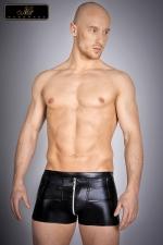 Short zippé Nolan : Short zippé en lycra wetlook, une seconde peau noir brillant qui vous met en valeur.